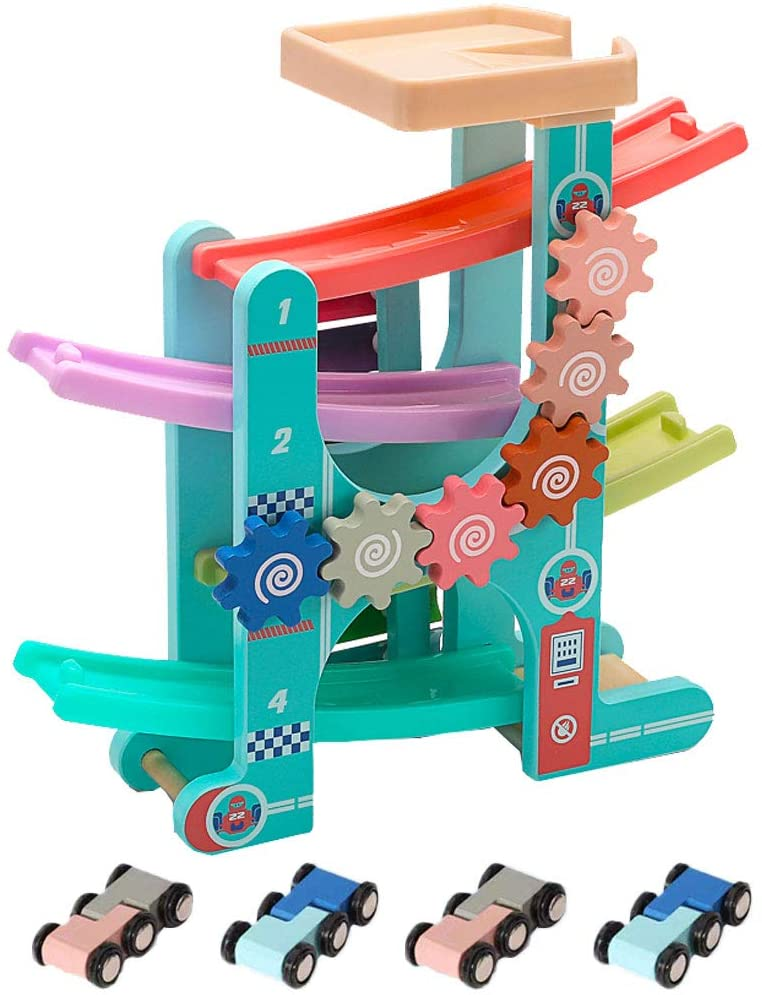 Arkmiido 3 in 1 Race Tracks for Toddlers with Gear and Xylophone Wooden Ramp Racer for Girls Boys with 4 Mini Cars