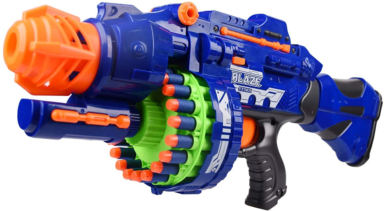 GDYS Electric Repeater Children's Toy Gun Soft Bullet Gun Suction Plate Bullet Sniper Grab Gun Gatling Inflatable Burst Machine Gun (Large Blue)