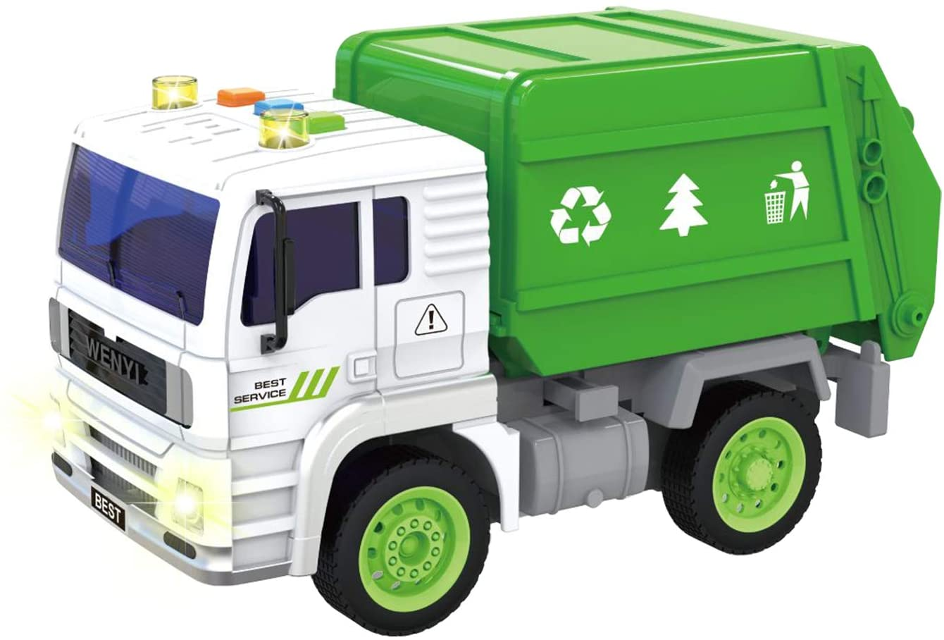 FUGZ Garbage Truck Toys for Boys, Friction Powered Toy Cars with Lights and Sounds(1:20)