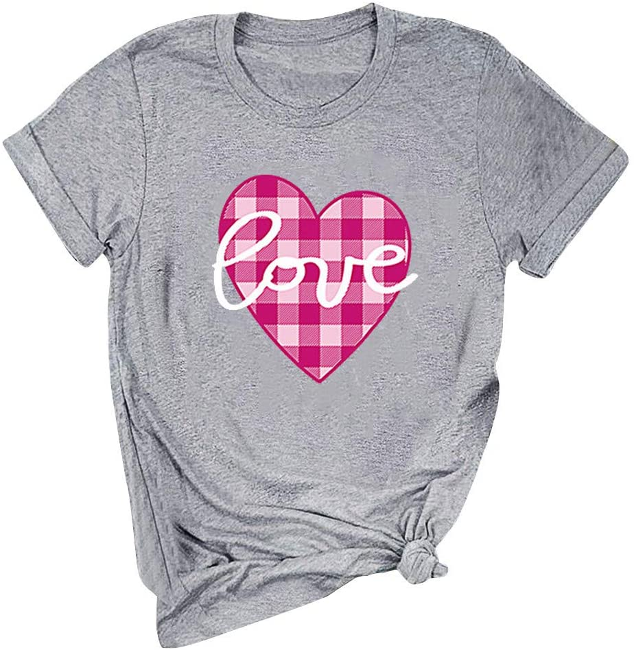 Yemenger Hearts Shirt Valentines Day Women Leopard Plaid Love Gift T-Shirt