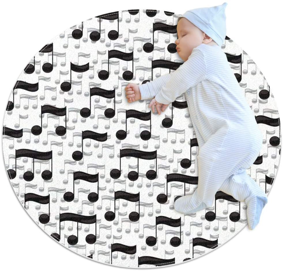 Black and White Musical Notes Baby Area Rug Home Decorative Carpet Soft and Washable Pad Non-Slip for Kid's Toddler Infants Room 3feet 3.4inch