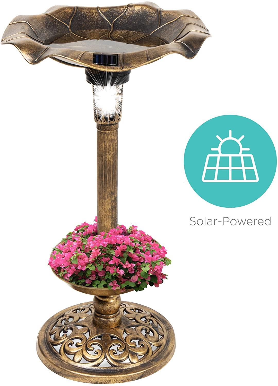 Best Choice Products Solar Lighted Pedestal Bird Bath Fountain w/Planter, Integrated Panel - Bronze