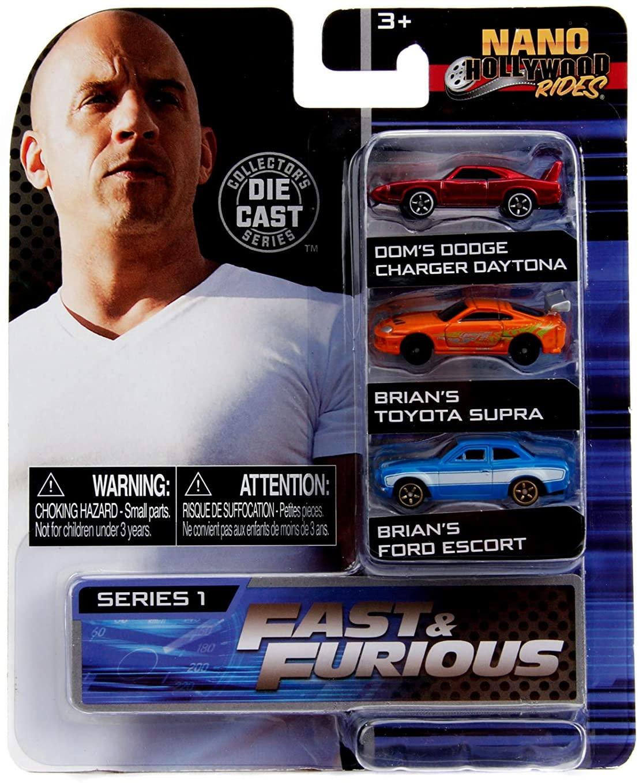 Jada Toys Fast & Furious Nano Hollywood Rides Dom's Dodge Charger Daytona, Brian's Toyota Supra and Brian's Ford Escort, 1.75