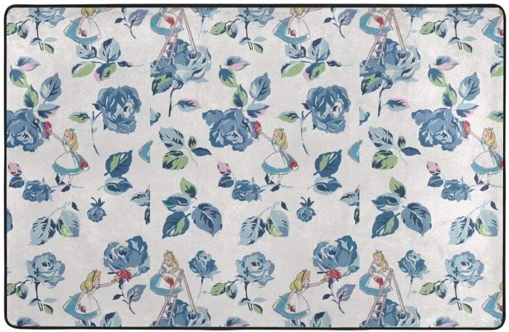Large Soft Flannel Area Rug Anti- Skid Alice Princess Carpet Bedroom Kids Room Mat Home Decor- 60 X 39 in