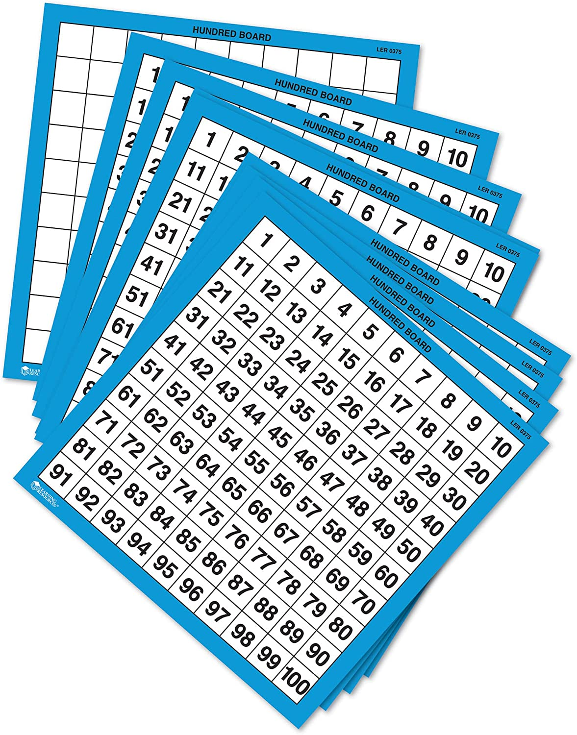 Learning Resources Laminated Hundred Boards, Dry-Erase Counting Aid, Set of 10, Ages 5+, Multicolor, Model:LER0375