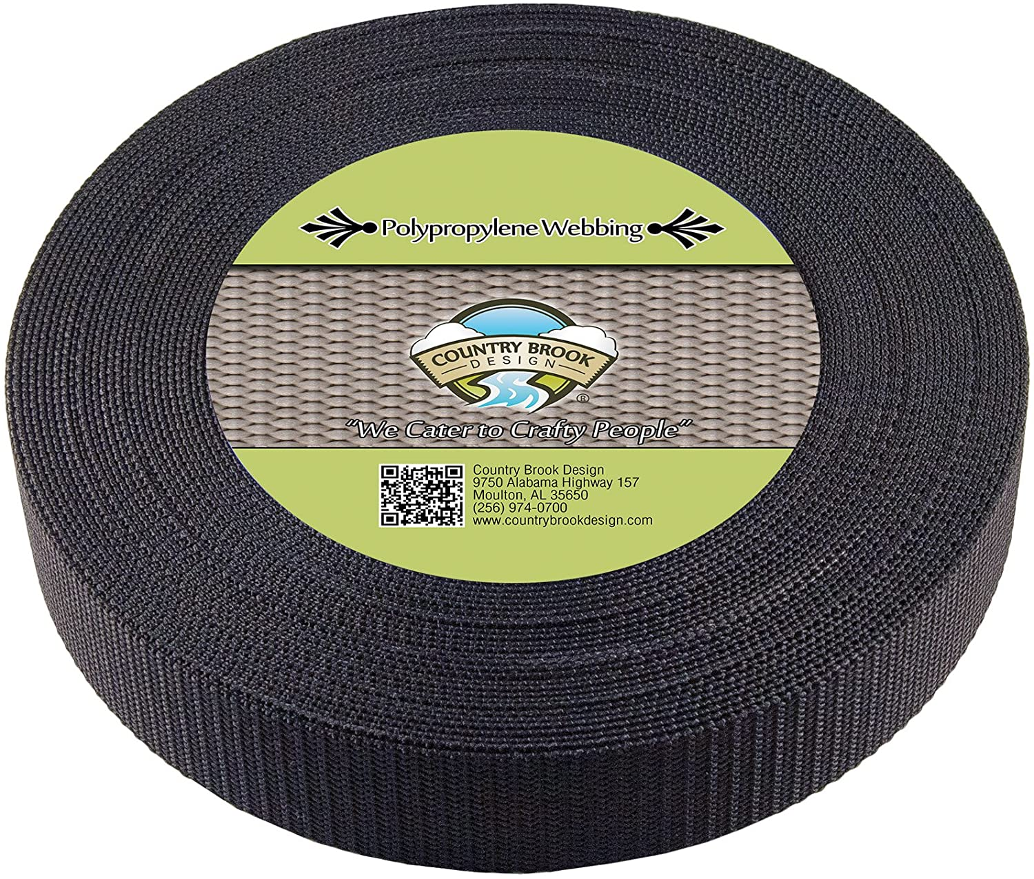 Country Brook Design - 1 1/2 Inch Black Heavy Polypro Webbing, 25 Yards