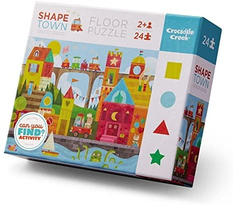 Crocodile Creek 4185-1 Shape Town, Early Learning Puzzle (24 Piece), Blue/Red/Yellow/Green