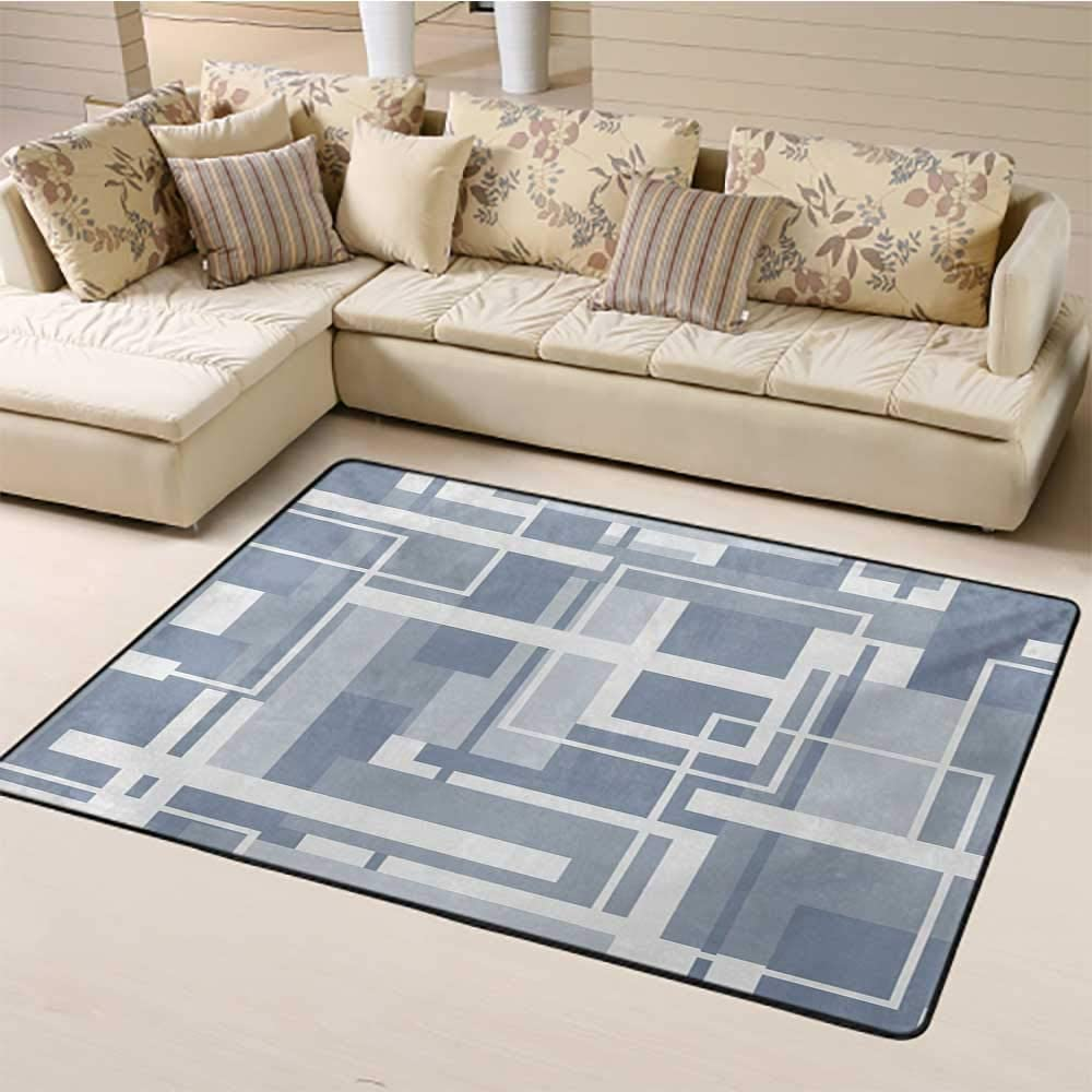Geometric Outdoor Carpet 2' x 3', Minimalist Futuristic Digital Bars Stripes Hightech Style Illustration Kids Play Rug, Cadet Blue Grey White