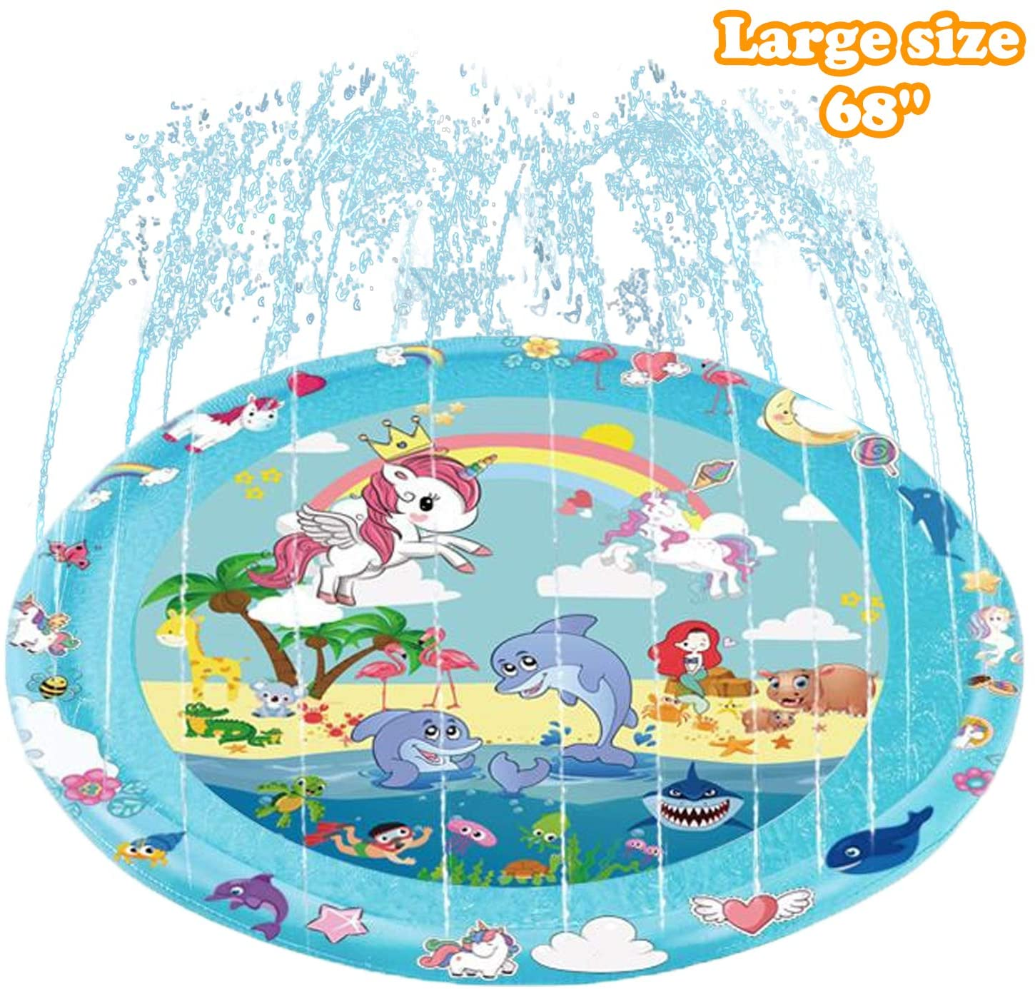 TAISHAN Sprinkle & Splash Play Mat,68'' Children's Sprinkler Pool,Upgraded Summer Outdoor Water Toys Wading Pool Splash pad,Outside Water Play Mat for 1-12 Children Boys Girls (Bluegreen-Unicorn)