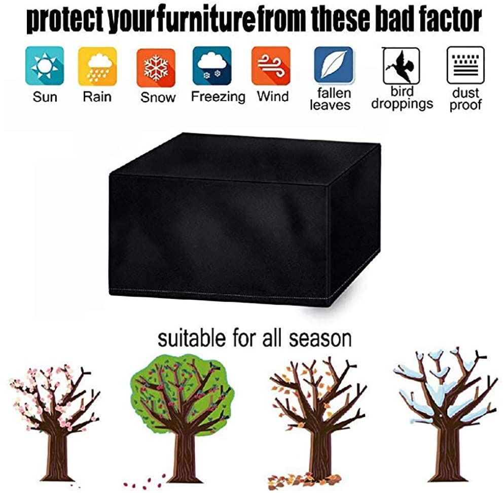 Garden Furniture Cover,Protective Windproof Waterproof Cover for Garden Furniture Chairs and Cover Waterproof Polyester Cube 210D Oxford for Garden Furniture Black ( Size : 315x160x74CM )