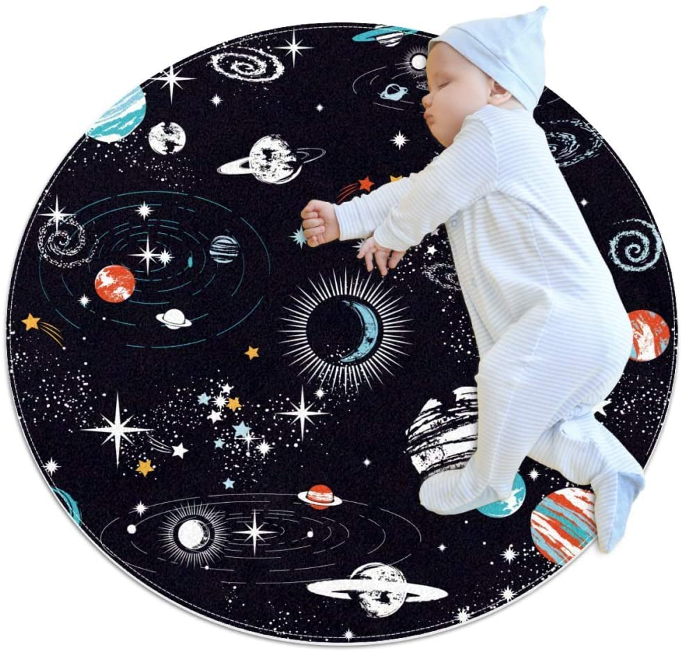 Color Planet Space Round Area Rug Home Decorative Carpet Soft and Washable Pad Non-Slip for Kid's Toddler Infants Room 27.6x27.6IN