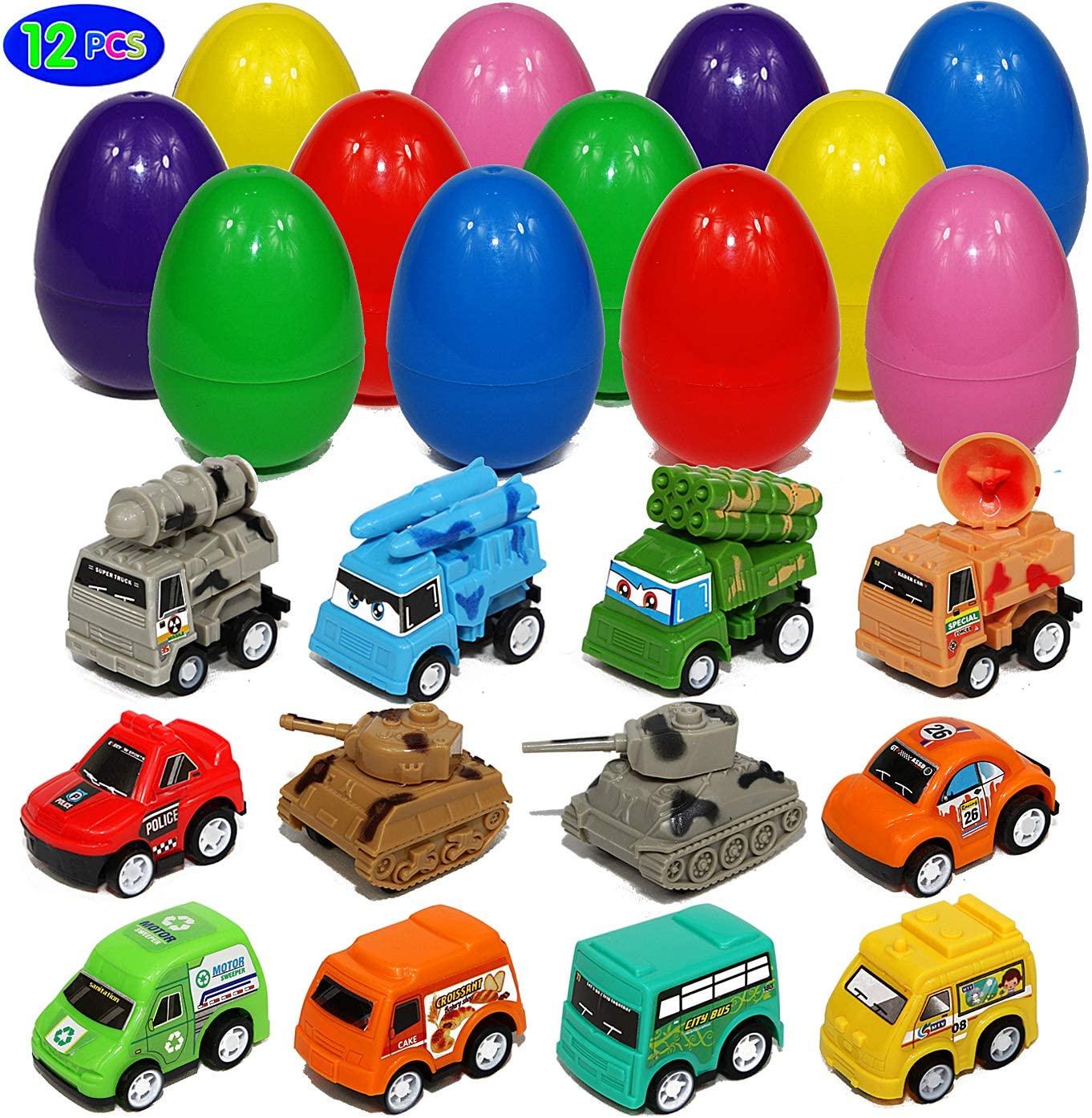 Toy Filled Large Easter Eggs with Pull-Back Vehicles Cars Trucks Tank Big Surprise Egg Hunt Basket Filler for Kids Boys and Girls