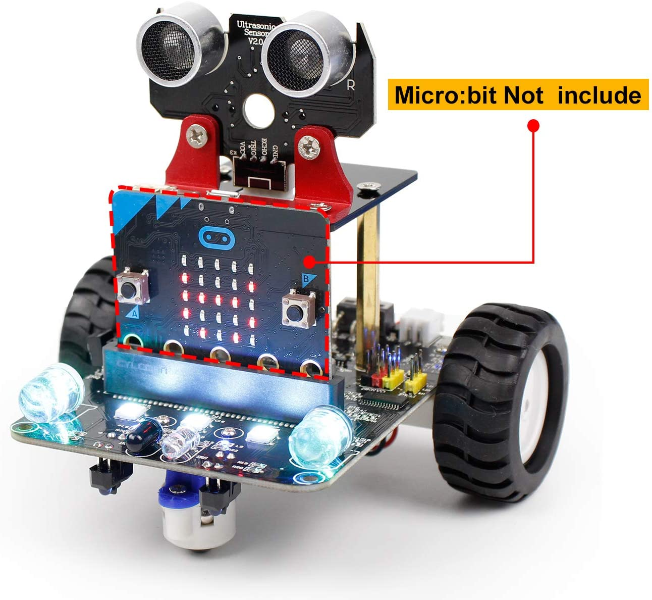 Yahboom BBC Micro:bit Coding Robot STEM Education Kit for Kids to Programmable DIY Toy Car with Tutorial for 10+ (Micro:bit NOT Include)