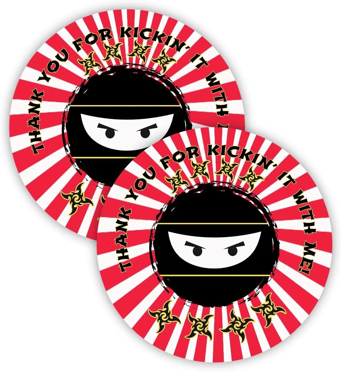 POP parties Ninja Party Favor Stickers - 40 Favor Bag Stickers - Ninja Thank You Tag - Ninja Party Supplies - Ninja Party Decorations