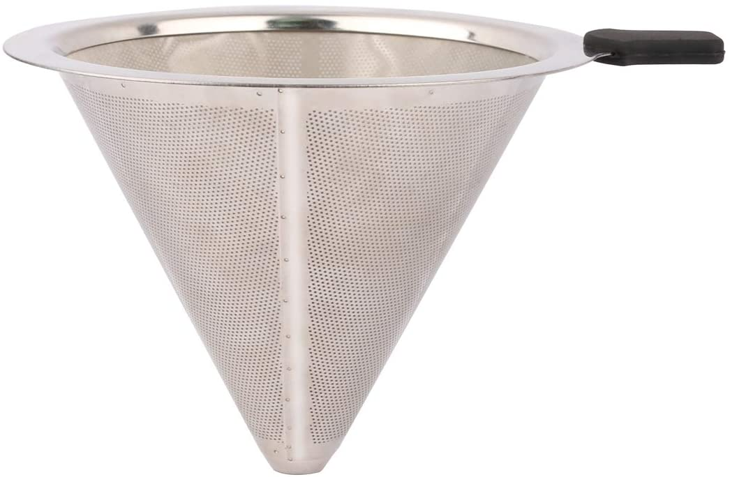 Stainless Steel Coffee Filter, Katfort Coffee Drip Filter Pour Over Paperless Reusable Double Layer Mesh Coffee Dripper with Handle (1-4 cups)