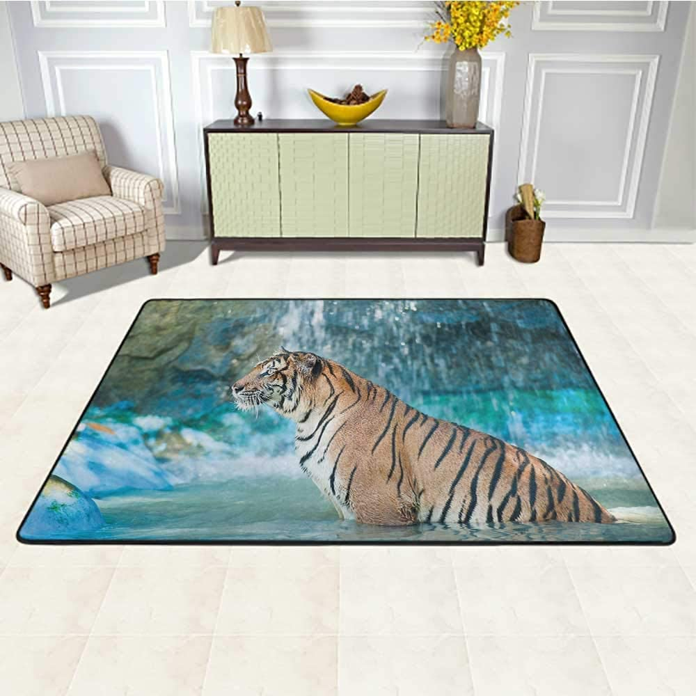 Tiger Floor Mat for Office Chair Carpet 4' x 6', Feline Beast in Pond Searching for Prey Sumatra Indonesia Scenes Kids Play Rug, Turquoise Light Brown Black