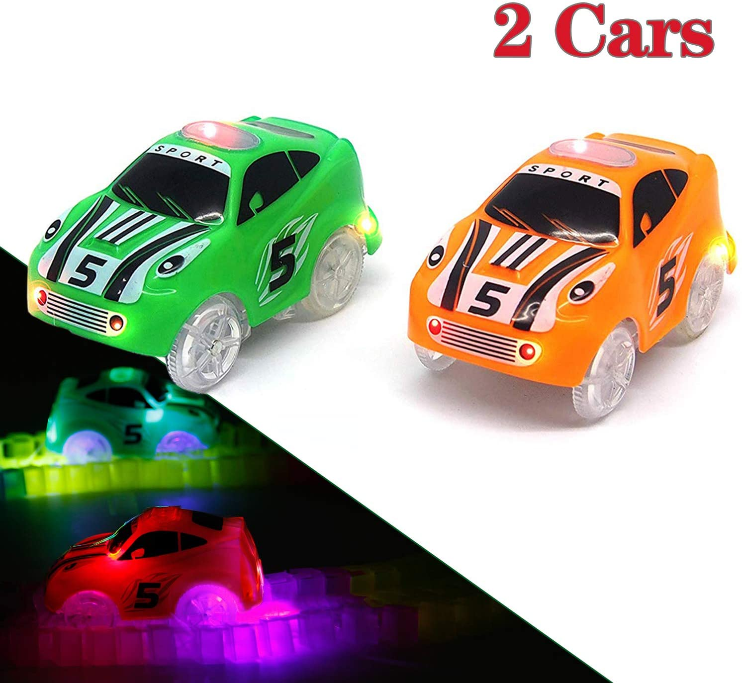 Mini Tudou Track Cars Toy 2 Pack,Replacement Only Light Up Toy Cars Compatible with Magic Tracks&Neo Tracks with 3 LED Lights Magic Glow in Dark,Best Toy Cars for Ages 3 4 5 Boys and Girls