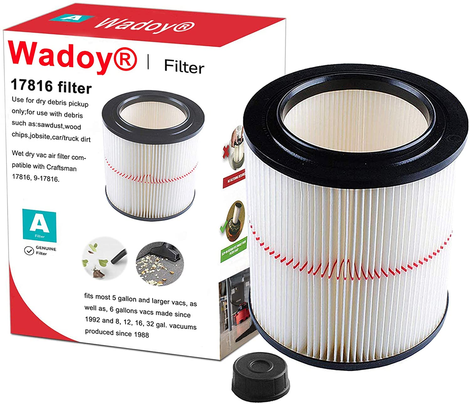 Wadoy 17816 Filter Compatible with Craftsman Shop Vac 917816, 9-17816 Wet Dry Vac Filter for 5 Gallon Vacuum Cleaner