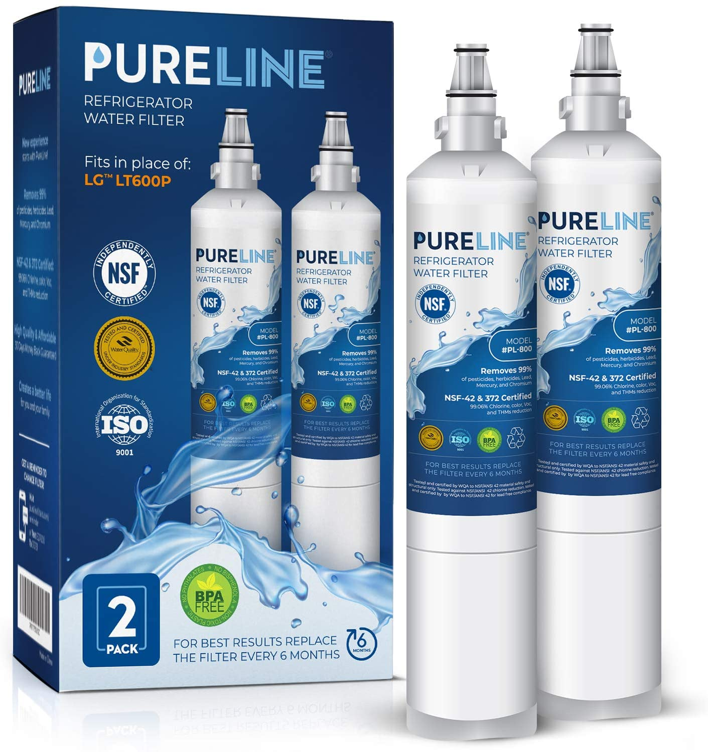 Kenmore 9990 & LG 5231ja2006a Water Filter Replacement. Compatible with Kenmore 9990, LG LT600P, LG 5231ja2006a, Kenmoreclear 46-9990-PURELINE (2 Pack)