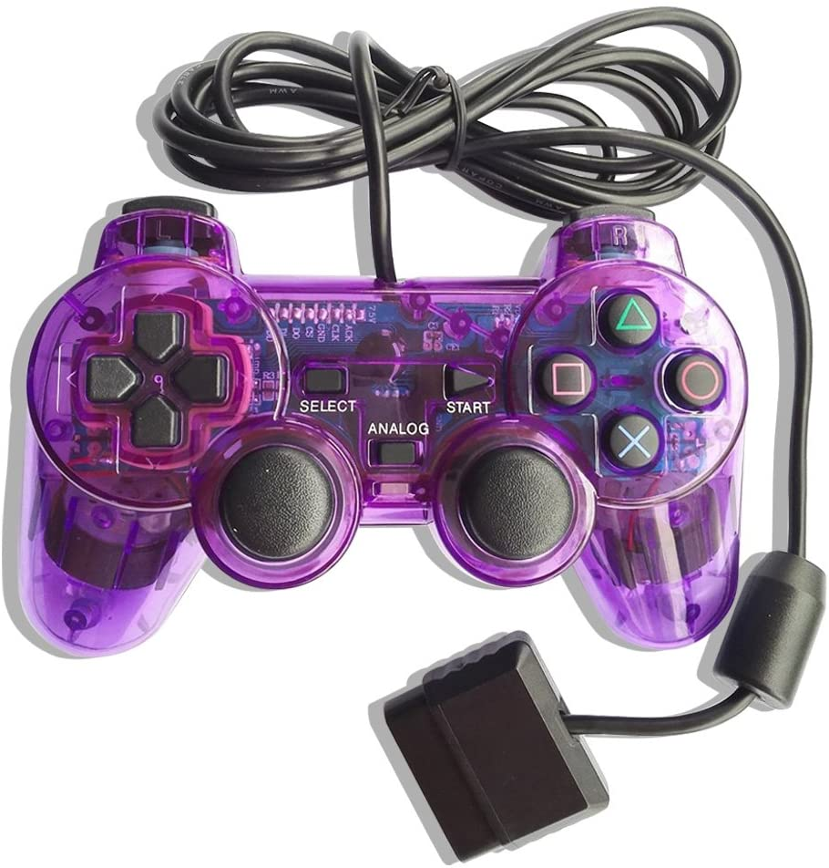 ElementDigital Wired Game Controller for PS2, Wired Gamepad Compatible with PlayStation 2 (Purple)