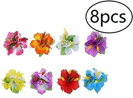 EBTOYS 8pcs Hawaiian Luau Flower Lei Hair Clip Set for Luau Tropical Hawaiian Party Favors