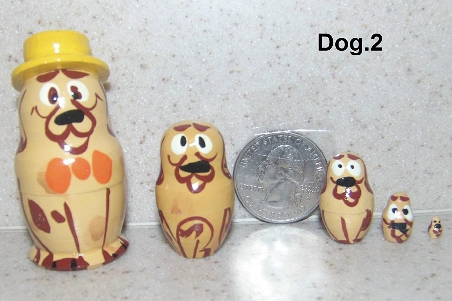 Russian Mini Nesting Doll Dog with Hat 5 pcs / 1.5 in Mini.Dog.hat2