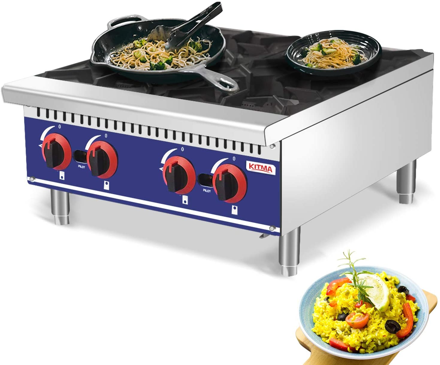Commercial Countertop Hot Plate - KITMA 24 Inches 4 Burner Liquid Propane Range - Restaurant Equipment for Soups, Sauces