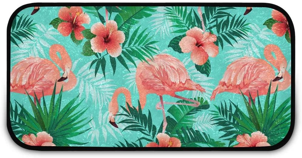 Rectangle Shaggy Rug Floor Mat for Kids Pink Flamingos Inside Floor Anti-Slip Rug Rectangle Carpet Play Mat