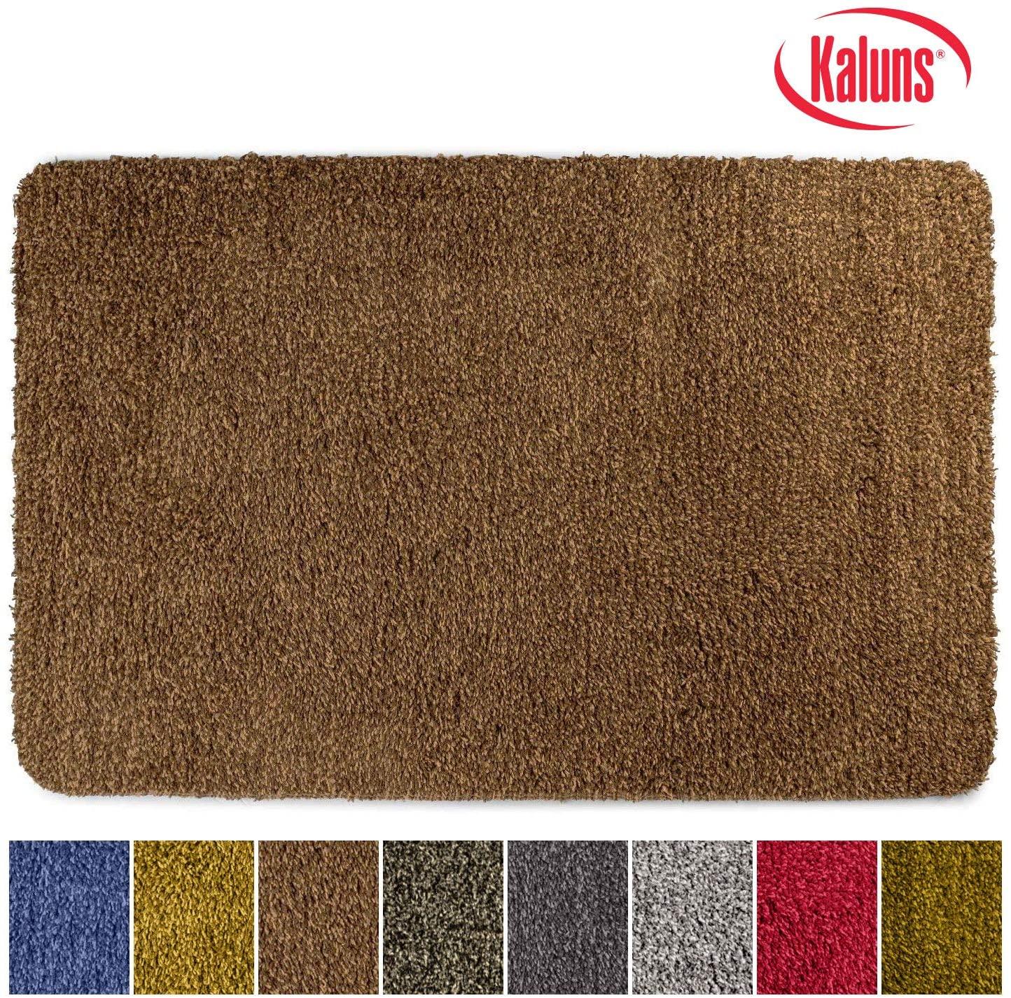 Kaluns Door Mat, Front Doormat, Super Absorbent Mud Mats, Doormats for Entrance Way, Entry Rug, Non Slip PVC Waterproof Backing, Shoe Mat for Entryway, Machine Washable (18x28 Brown)