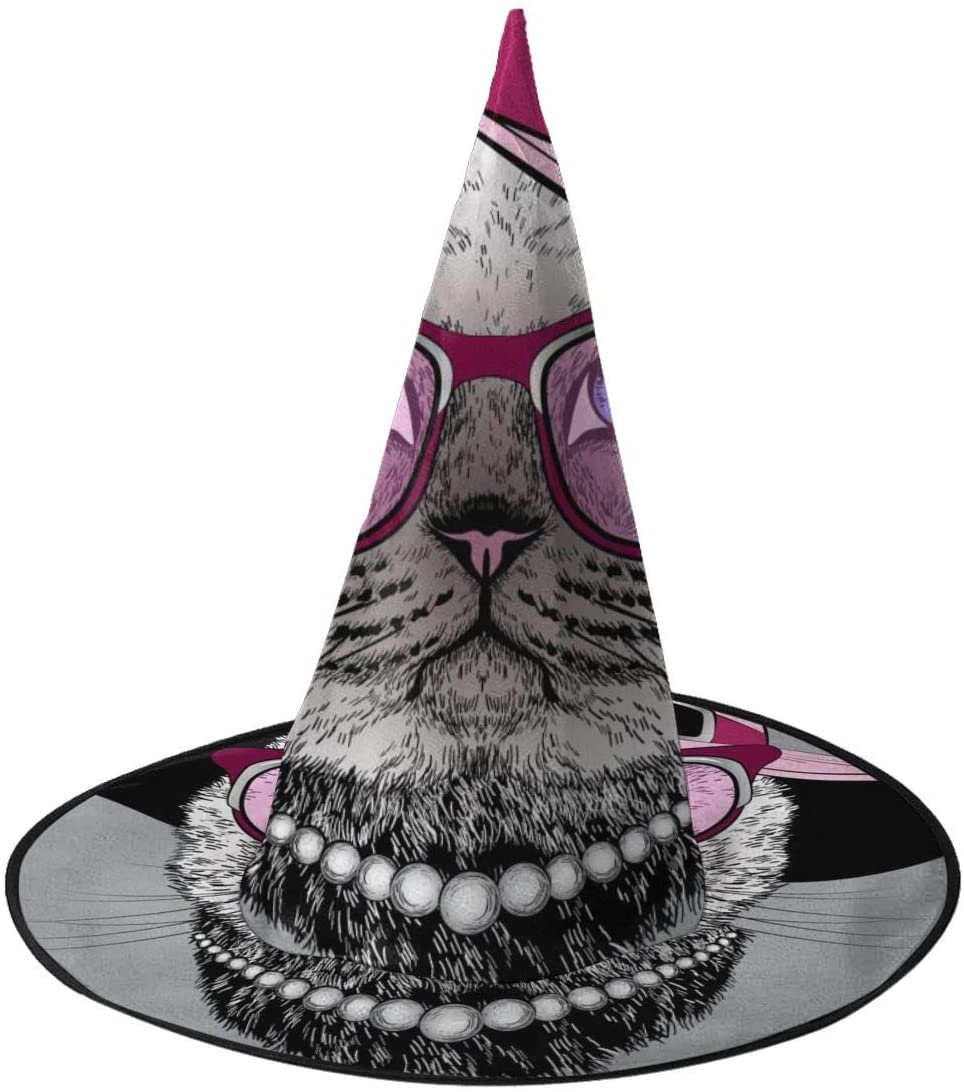 Halloween Witch Hat,Fashion Portrait Of Cat Halloween Costume Witch Hat for Holiday Party