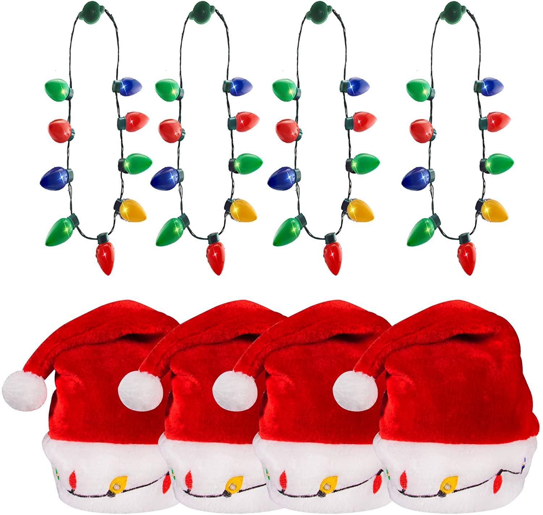 Holiday Bundle Kit | 4-Pack Christmas Bulb Necklaces & Light-up Holiday Santa Hat for Men Women & Kids