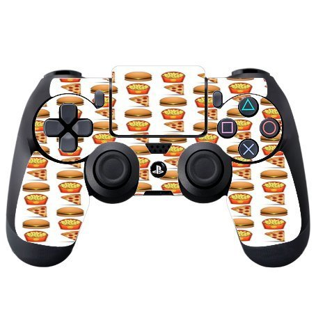 Pizza Burger and Fries Design Yum Vinyl Decal Sticker Skin by Debbie's Designs for PS4 DualShock4 Controller