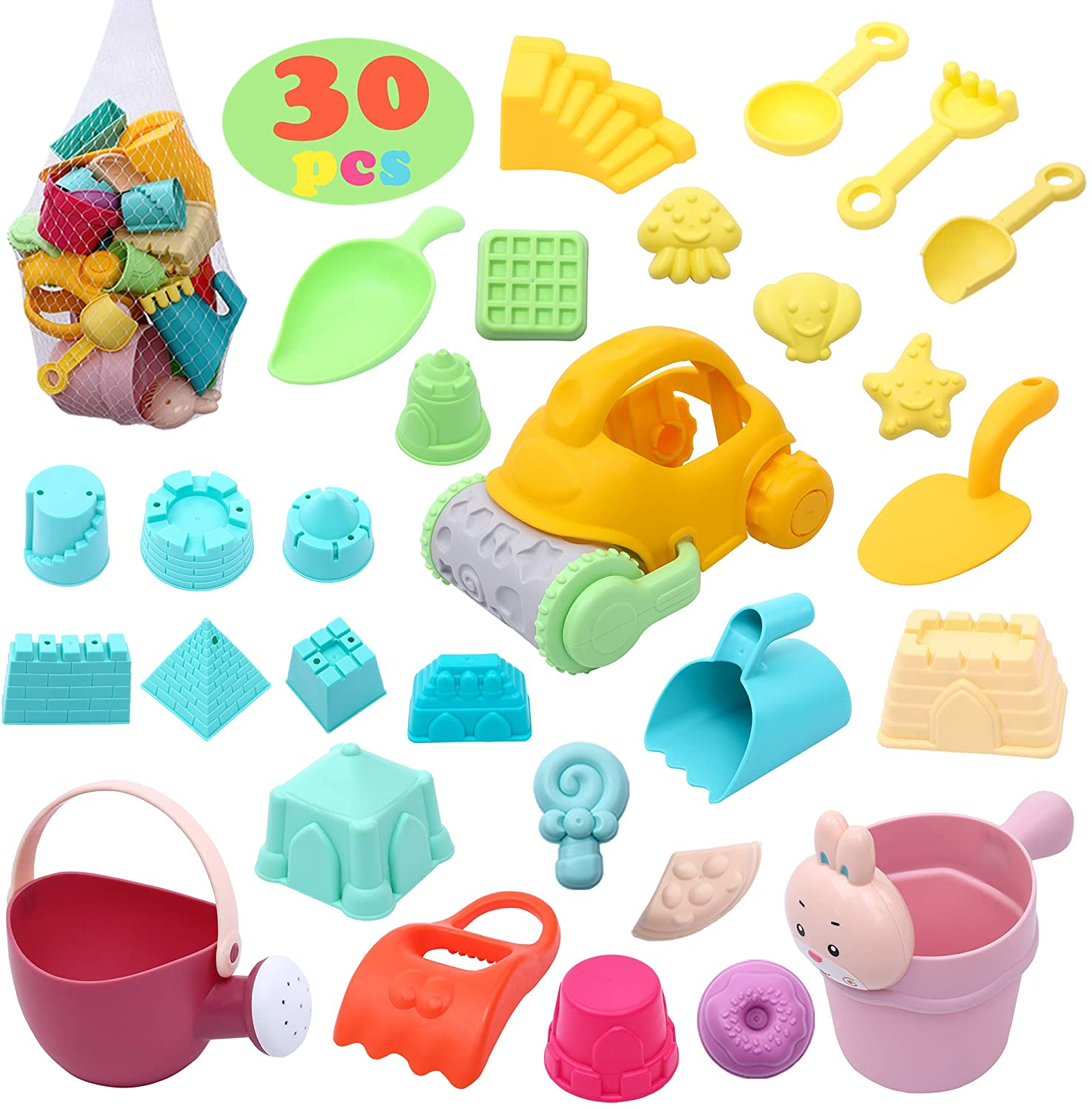 30Pcs Beach Toys Sand Toys Sets for Kids Toddlers Age 3-10 Sandbox Toys with Mesh Beach Bag Includes Sand Castle,Animal Molds,Bucket, Shovels Tool Kit, Watering Can,Baby Beach Toys Outdoor Play