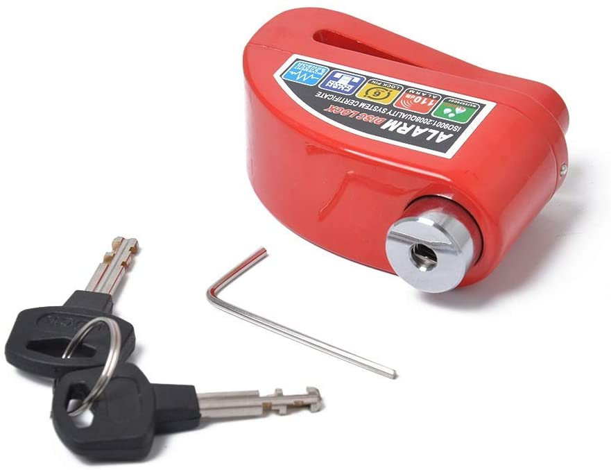 MADONG Red section - electric car anti-theft lock battery car disc brake lock electric bicycle anti-theft alarm instead of U-lock (Color : Red)