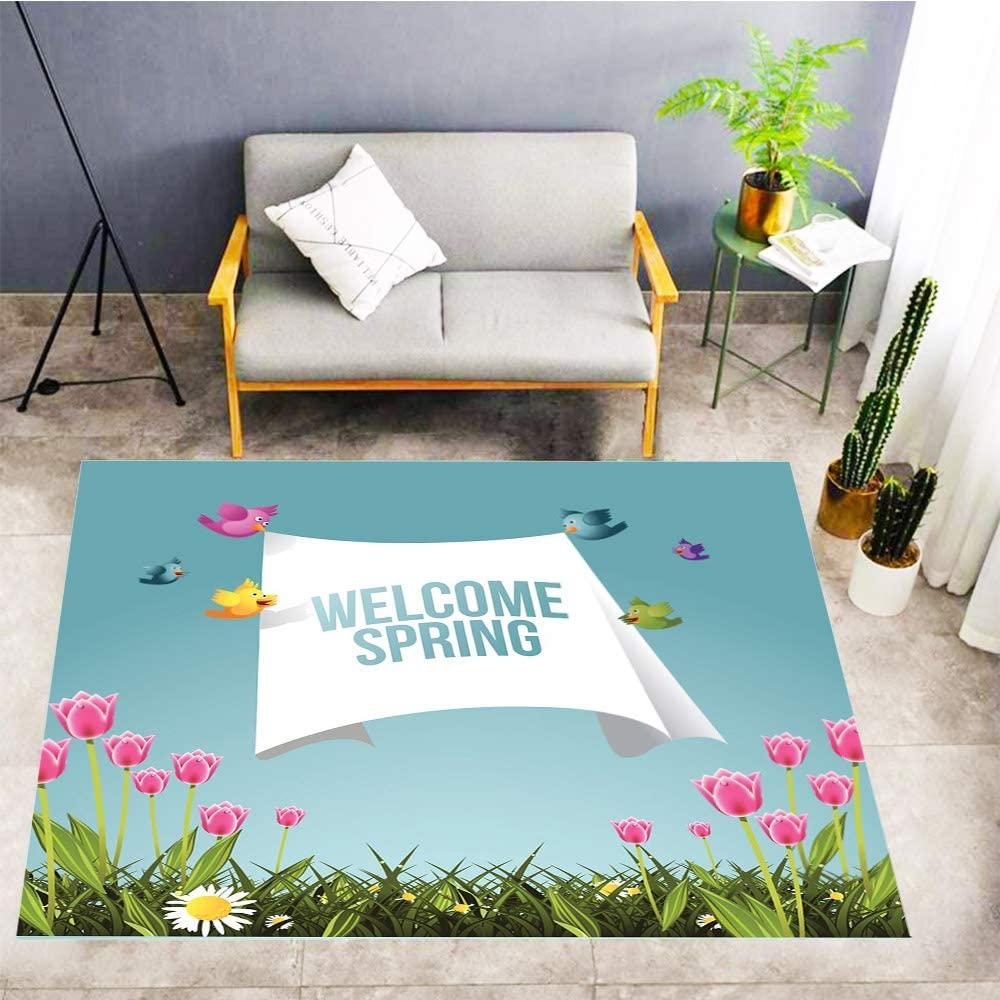Cartoon Kids Play Mat,Carpet Non-Slip Mat,Cartoon Birds Flying with Welcome Spring Message,Living Room Carpet Bedroom Carpet Doormat,60x39 in