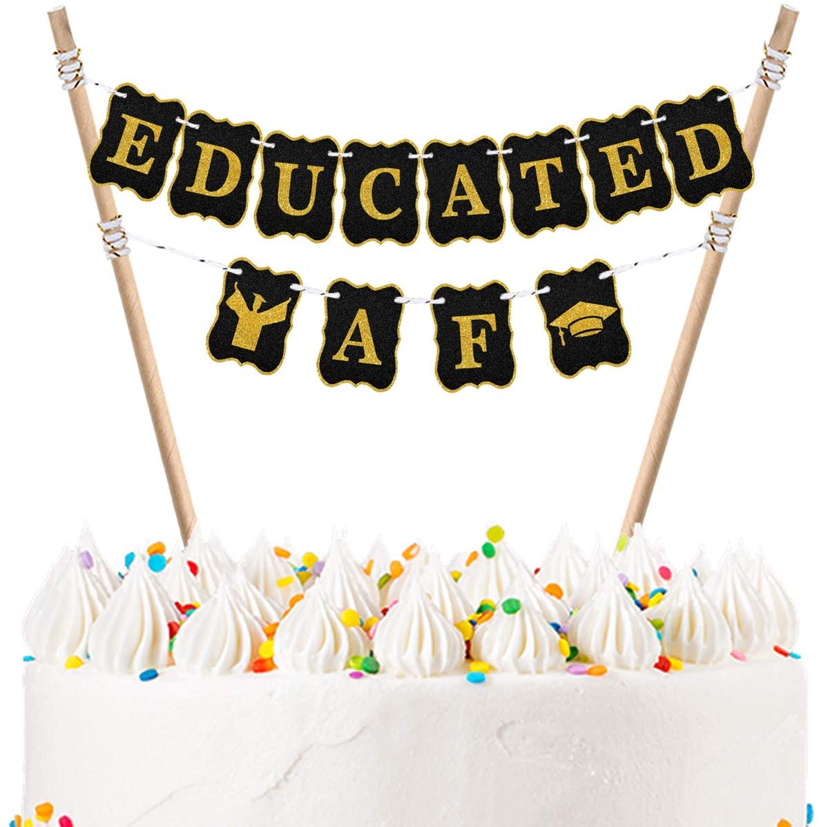 Educated AF Cake Bunting Topper,Handmade 2020 High School Graduation Party Decorations Supplies 2020 College Graduation Cake Banner Topper Garland