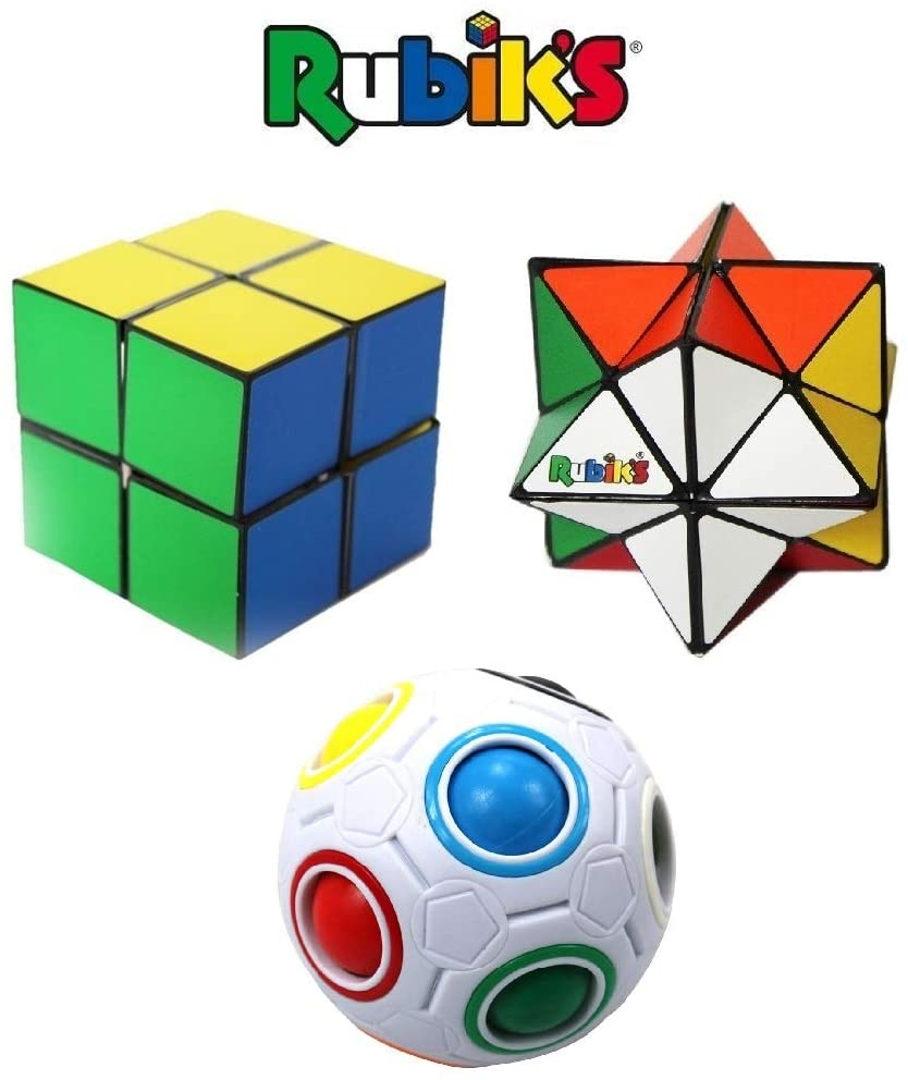 Rubik's Challenge Gift Set; Bundle of (2) Magic Stars and (1) Rainbow Ball; Transformation & Color Matching Fidget Toys, Brain Teaser, Addictive & Educational Puzzles, Fun Gift for Adults and 4+ Kids