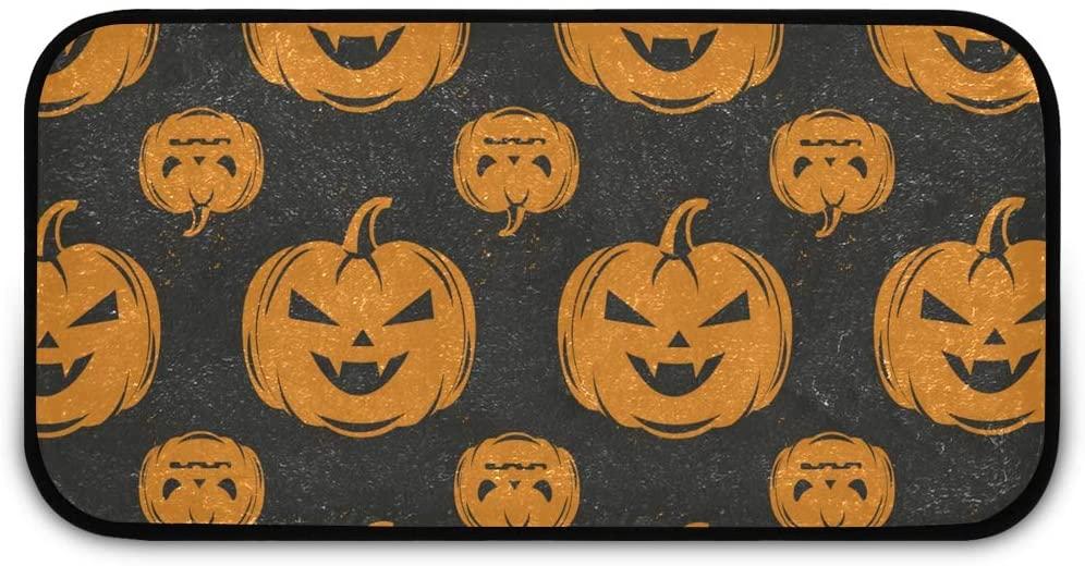 Halloween Rectangle Shaggy Rug Carpet for Kids Scary Pumpkin Happy Halloween Farmhous Anti-Slip Rug Rectangle Carpet