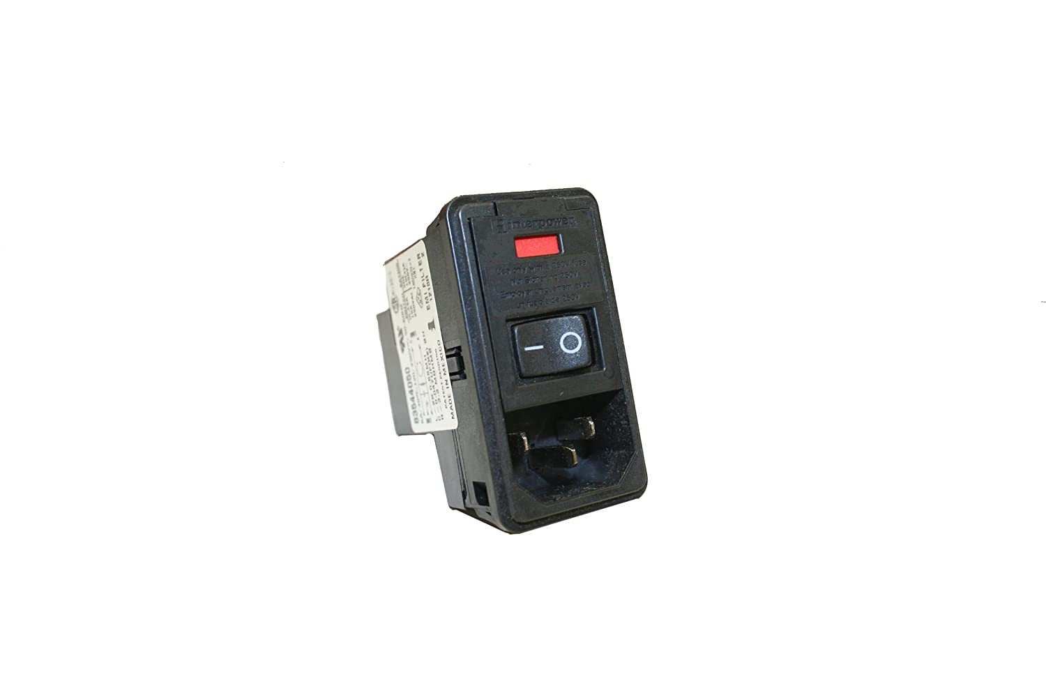 Interpower 83544050 Four Function Medical Grade Module, C14 Inlet, Switch, Single Fused, Filter, 0.08-2mm Panel Thickness, 6A Current Rating, 120/250VAC Voltage Rating