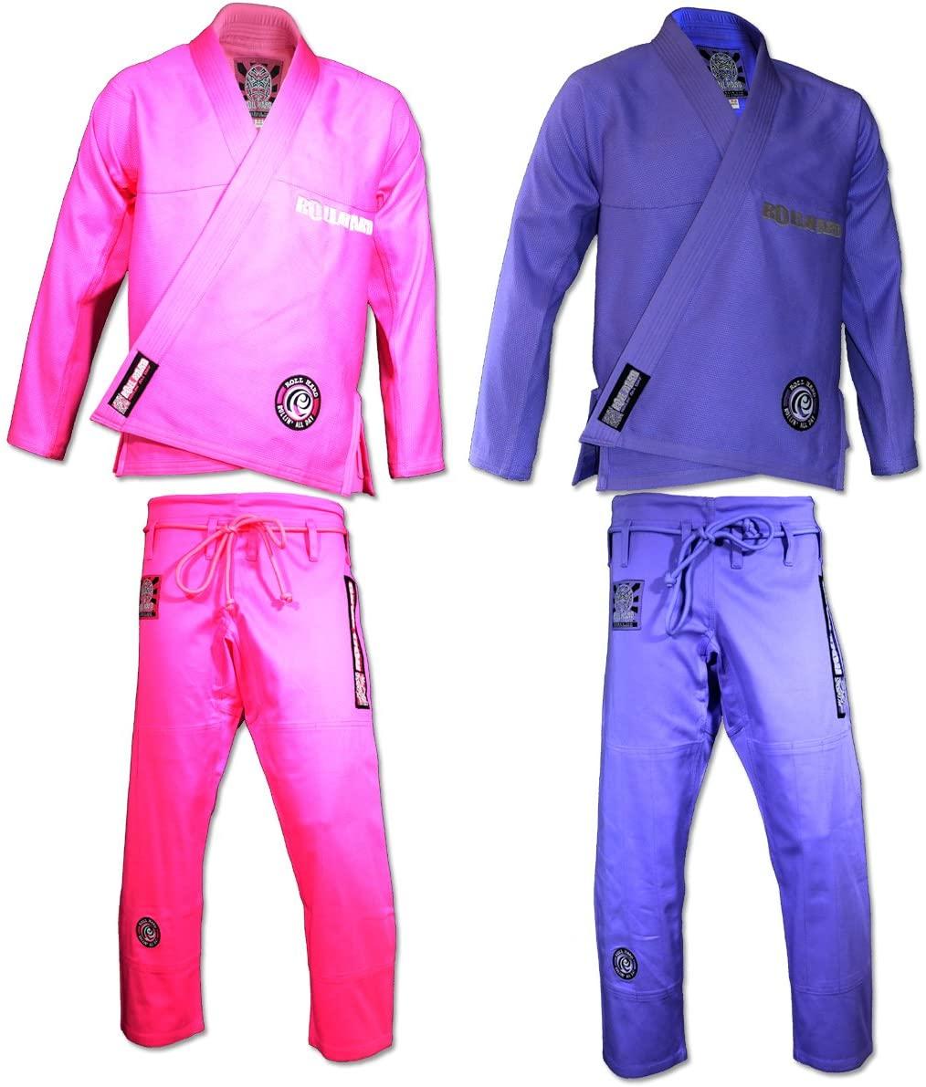 ROLL HARD Brand Womens Brazilian Jiu Jitsu Kimonos - Pink or Purple
