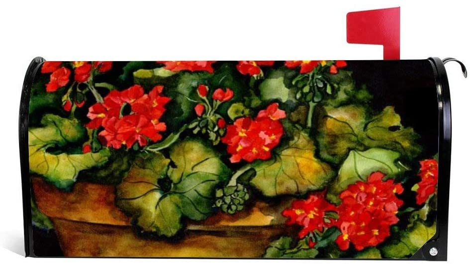 Red Potted Geraniums Flower Magnetic Mailbox Cover Wraps Post Box Canvas Garden Yard Home Decor for Outside - 21