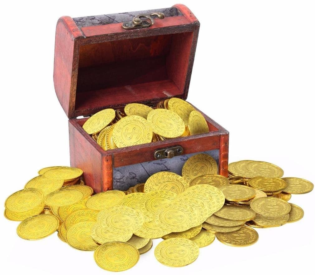 Eshylala 100 Pieccs Pirate Plastic Gold Toy Coins Game Coin Accessory Plastic Toy Coin & Pirate Vintage Treasure Box for Kids Party Favors