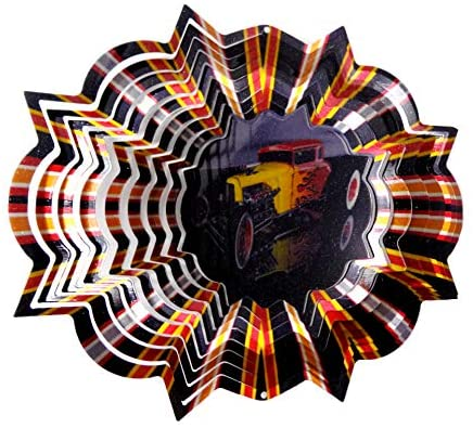 WorldaWhirl Whirligig 3D Wind Spinner Hot Rod Classic Car Yard Twister Home Decor Stainless Steel (6.5 Inch)