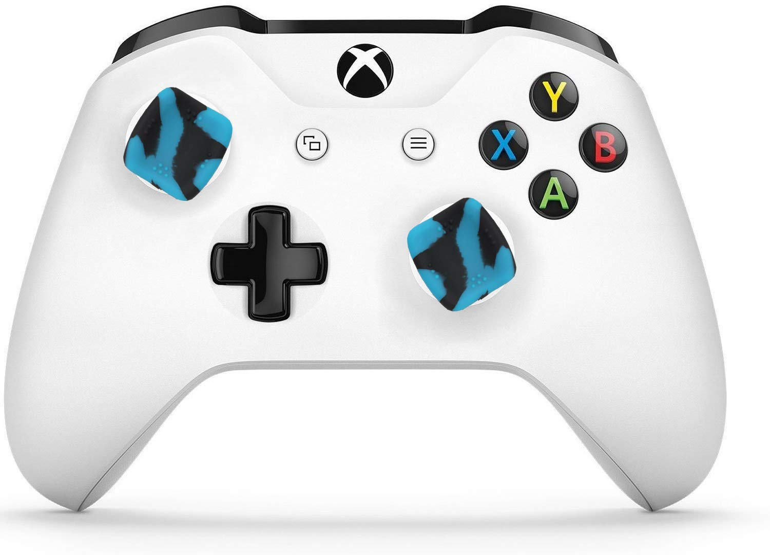 Skywin Performance Thumb Grips Compatible with Xbox One Controller provide effortless griping for Large, Weak, or Arthritic hands - Blue and Black