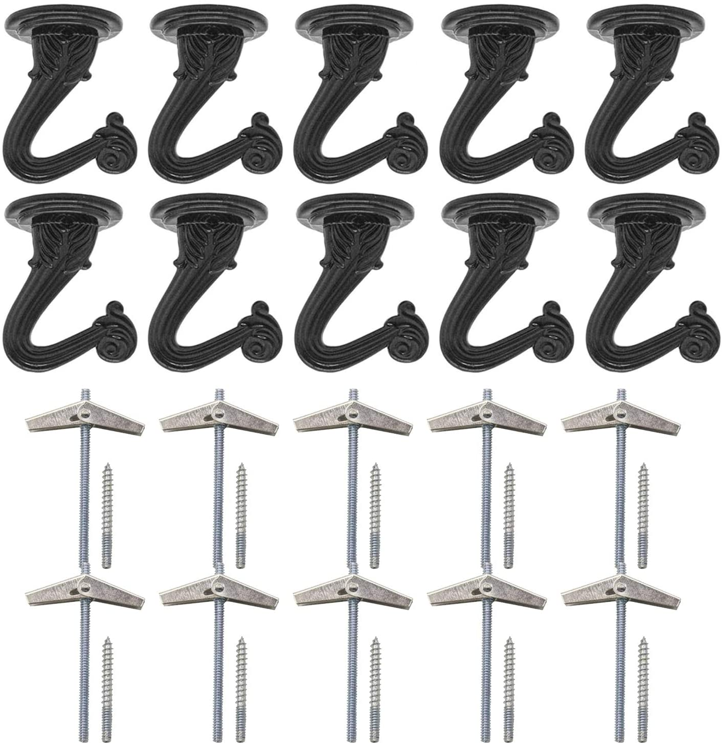 Alpurple 10 Sets Brass Ceiling Hook -Metal Heavy Duty Swag Ceiling Hooks with Hardware and Toggle Wings for Hanging Plants, Chandeliers Ceiling Installation Cavity Wall Fixing
