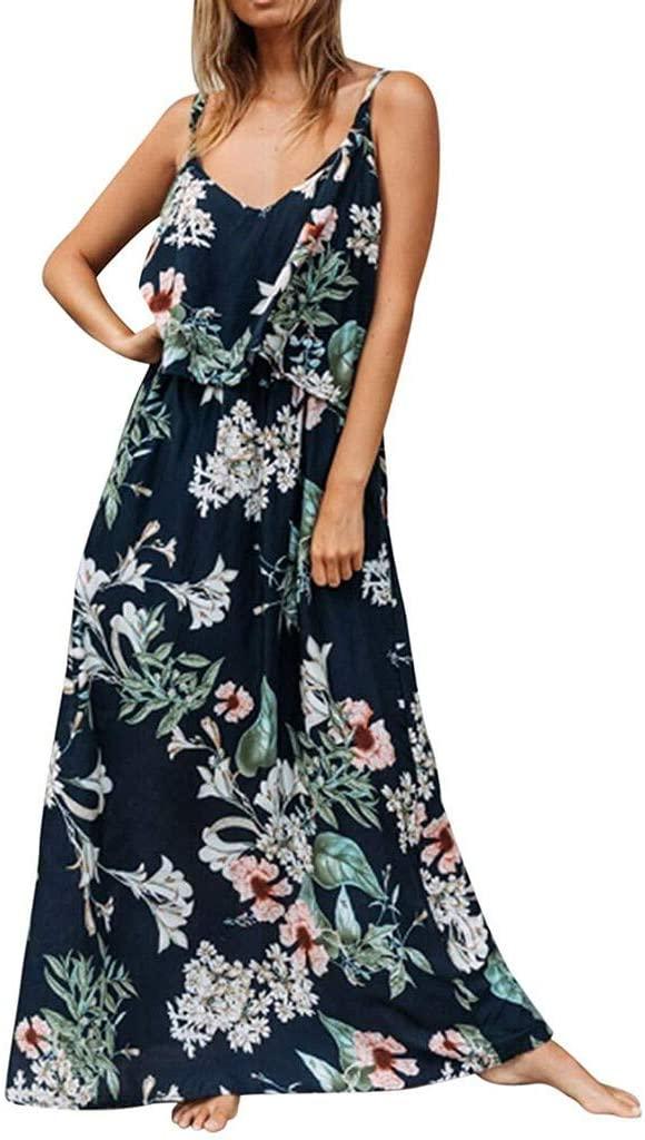 Waiimak Womens Summer Floral Adjustable Spaghetti Strap Tie Back Maxi Dress Split Long Maxi Dress