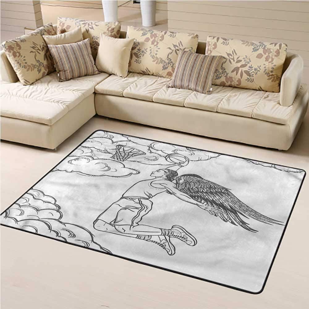 Carpet Sports, Winged Athlete Dunking Ball Kids Carpet Playmat Rug Non Slip Rubber Backing 3 x 5 Feet