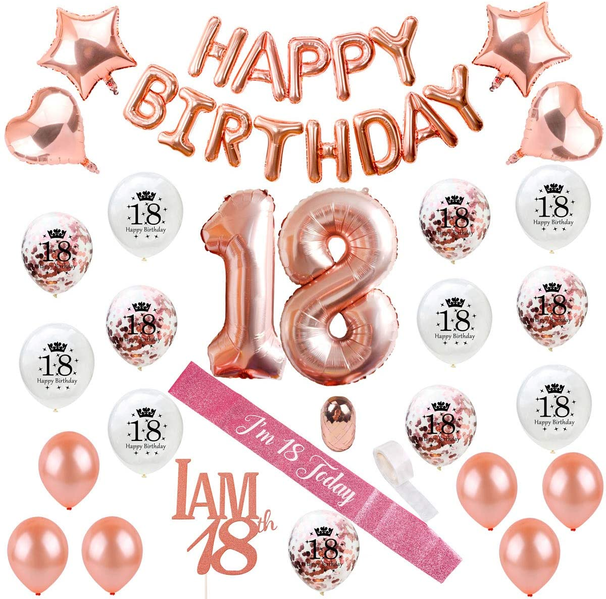 18th Birthday Decorations Party Supplies - Rose Gold 18 Birthday Balloon Numbers, Confetti Latex Balloons, 18 Cake Topper, Birthday Sash, Eighteenth Birthday Decoration by QIFU (Rose Gold Balloons 18)