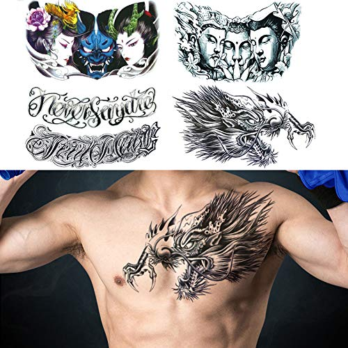 """glaryyears 5 Sheets Large Size Chest Temporary Tattoos for Men, Dragon Buddha Beauty Women Letters Designs, on Shoulder Thorax Back Body Art 7.5''x12.6"""""""