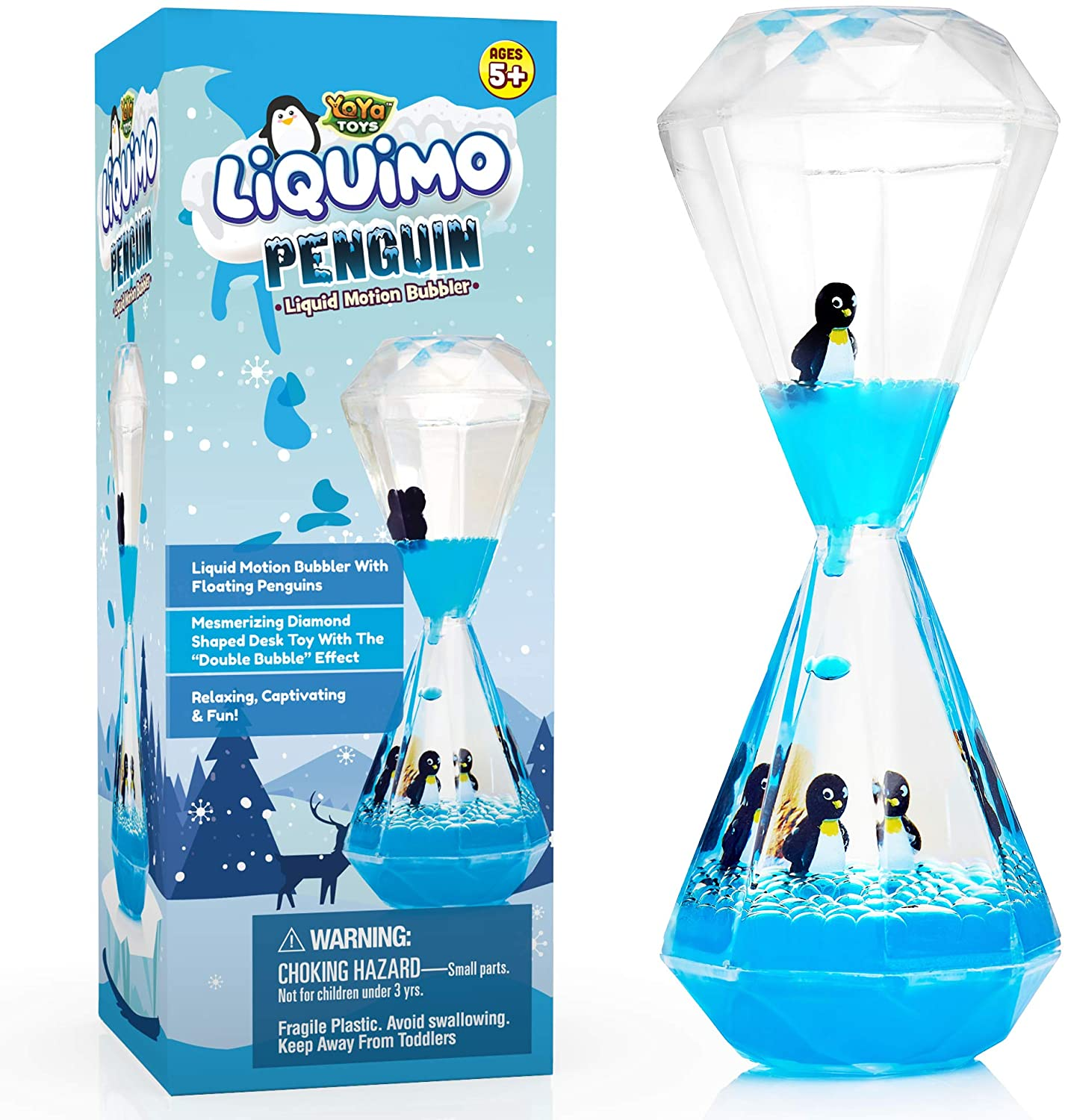 YoYa Toys Liquimo Penguin - Liquid Motion Bubbler for Kids and Adults - Penguin Theme - Satisfying Sensory Toys for Stress and Anxiety Relief - Fidget Toy Can Be Used as a Colorful Kitchen Timer